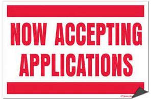 Now Accepting Applications sign